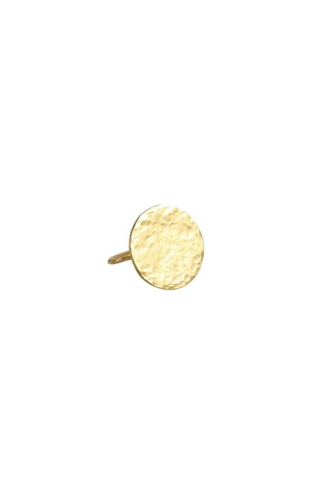 Young Frankk Circle Hammered Ring, Gold Plated