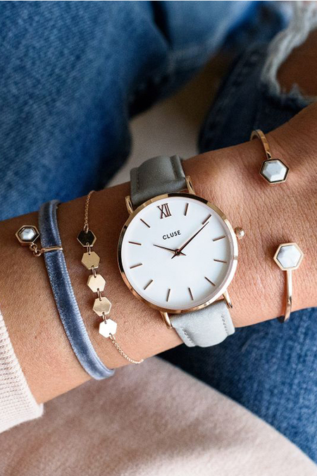 Cluse Watches Minuit - Rose Gold White/Grey