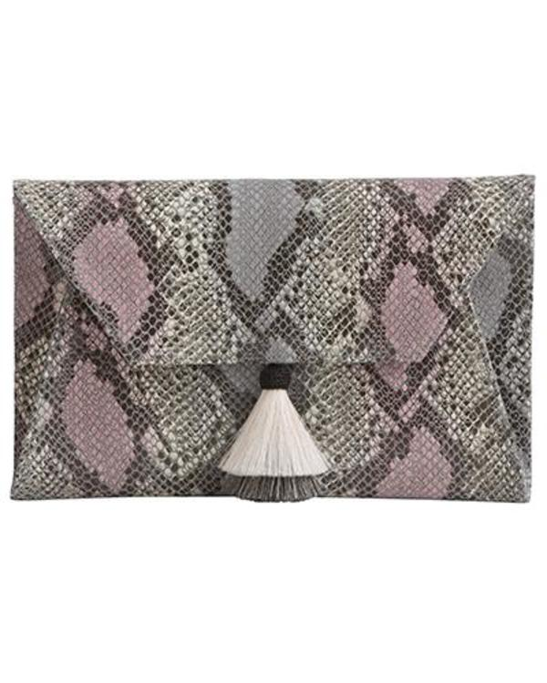 Oliveve Cleo Envelope Clutch in Pink Cobra Cow Leather with Horsehair Tassel