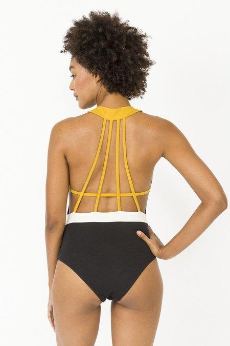Luz Alexie swimsuit - black/mustard yellow/white