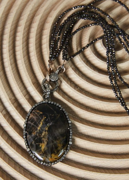 Jewels by Piper Dark Agate Pendant on Pyrite Necklace