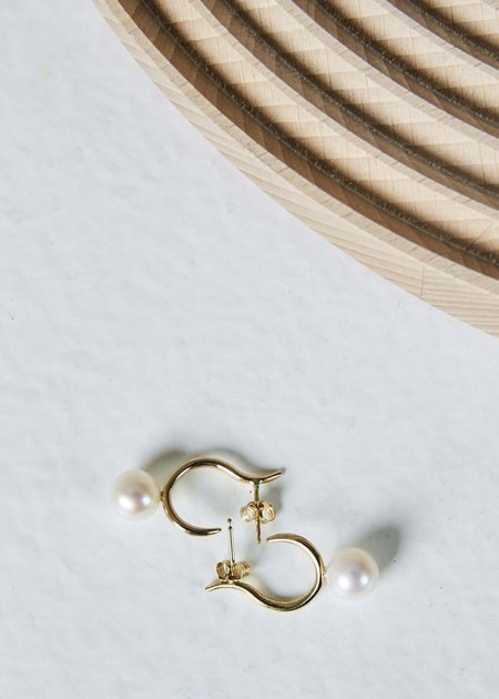 White / Space Pearl Moon Open Hoops