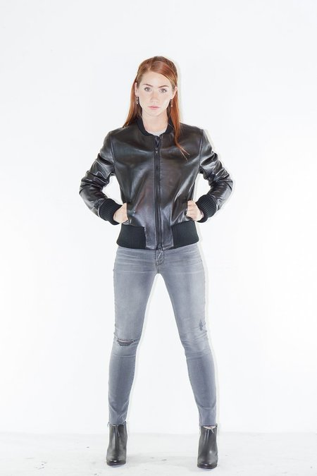 SNACKU Leather NJ Bomber Jacket in Raven Black
