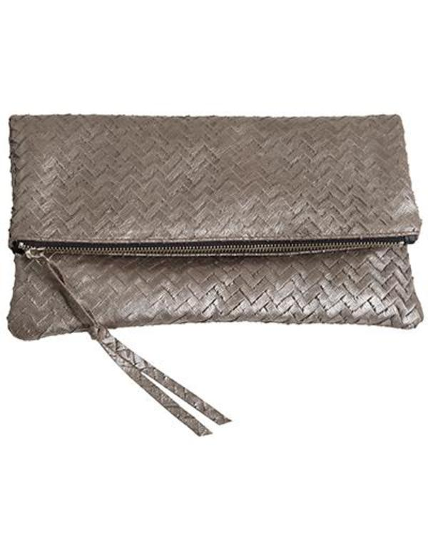 Oliveve Anastasia in Silver Embossed Woven Cow Leather