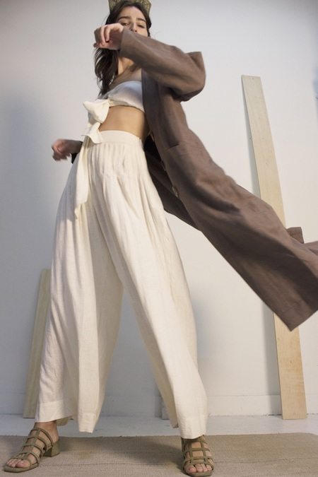 Ajaie Alaie Walk the Talk Pants in Matka Silk In Aquafava