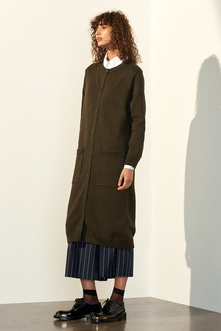 Kowtow Victory Cardigan in Army Green