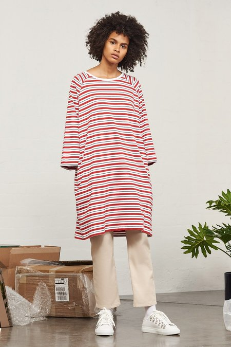Kowtow Building Block Oversized Tee Dress in Red Stripe
