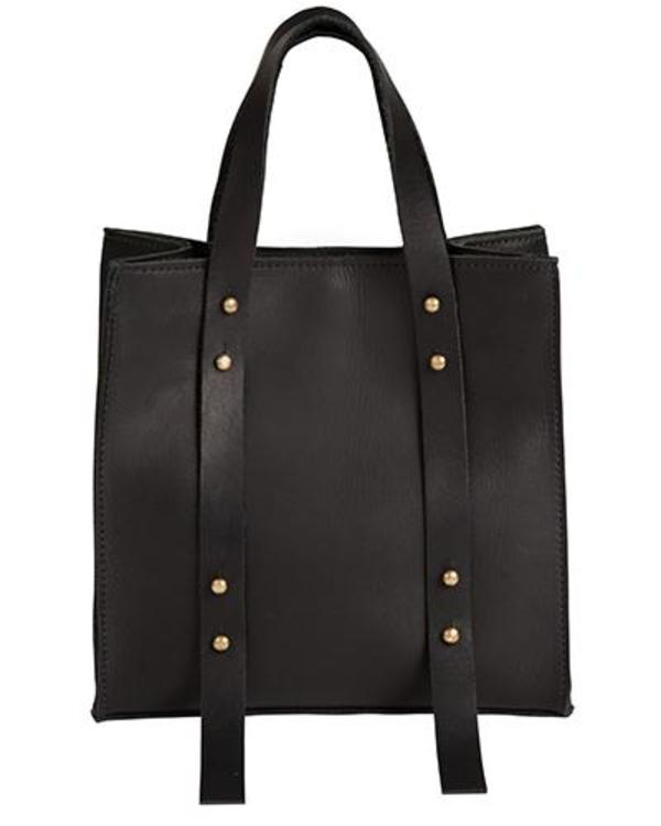 Oliveve Keira Convertible Strap Tote In Black Oiled Leather