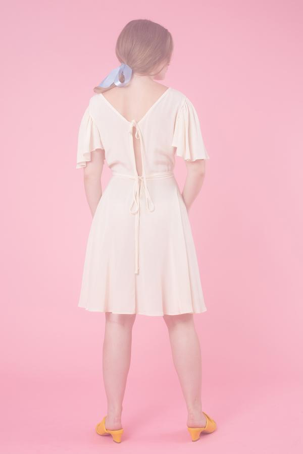 Samantha Pleet Lyre Dress in Ivory