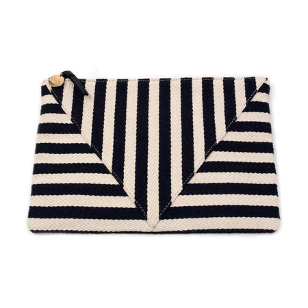 Clare V. Patchwork Flat Clutch - Mariner Stripe
