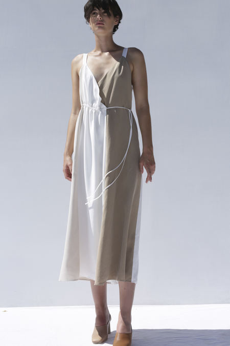 Shaina Mote Viviane Dress in Salt, Putty + Camel