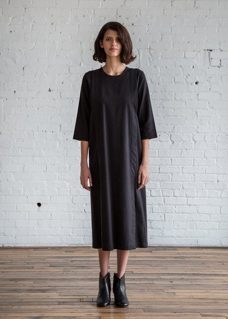 Black Crane Apron Dress - Black