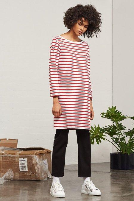 Kowtow Building Block Boat Neck Dress - Red Stripe