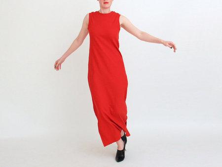 Kowtow Building Block Ladder Rib Long Tank Dress - Red