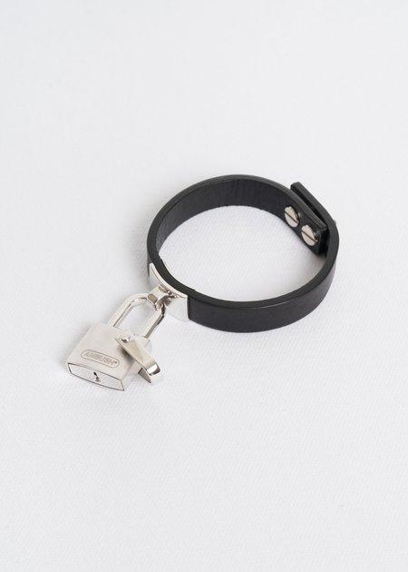 Ambush Silver Padlock Leather Bracelet
