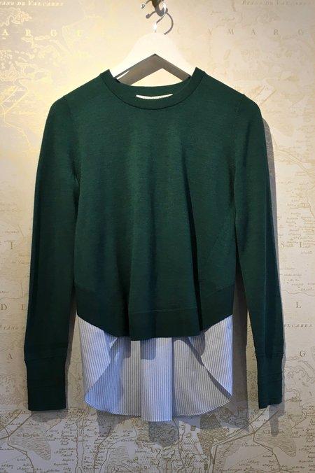 Veronica Beard Wool 'Alma' Sweater with Stripe Shirt Detail