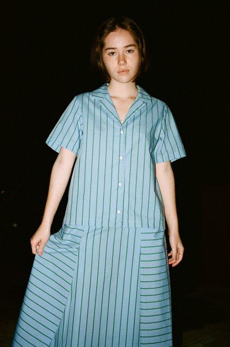 CARLEEN Angeleno Blouse in Blue Stripe
