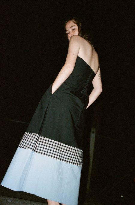 Caron Callahan Cotton Poplin with Hem Details Tham Dress - Black