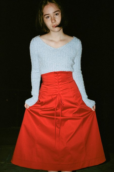 Sayaka Davis Front Lace Up Skirt - Orange Red