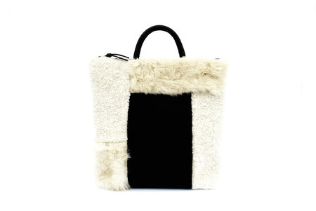 Primecut Beige Patchwork Sheepskin Backpack