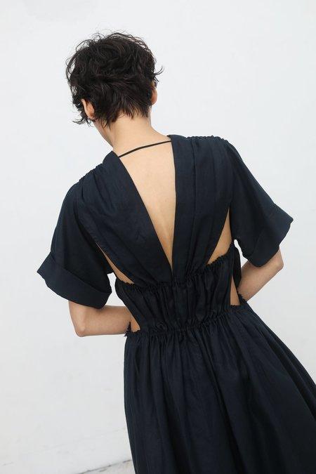 Yulia Kondranina Gathered Dress with Cutout Details on Back in Dark Ink
