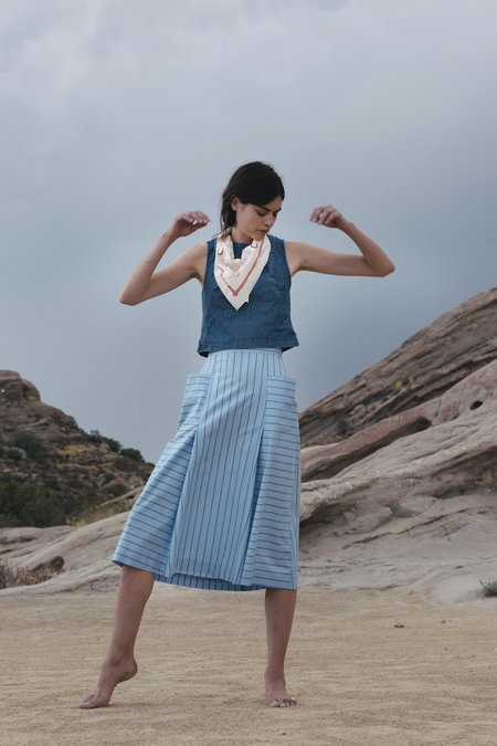 Carleen Patchwork Shell - Light Blue