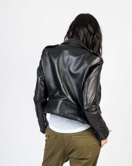 Schott NYC Cropped Perfecto Black Lambskin Leather Jacket