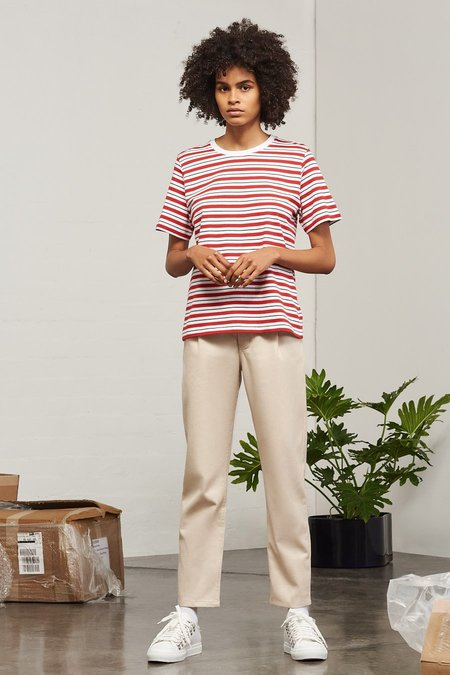 Kowtow Building Block Classic Fit Tee in Red Stripe