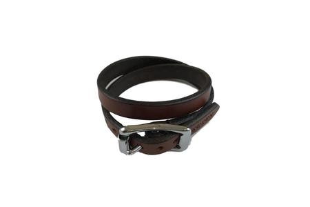 Yuketen Double Wrap Plain Bracelet - Oakbark with Nickel