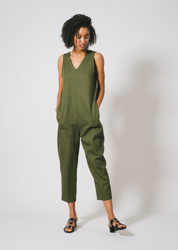 REIFhaus Lou Jumpsuit in Olive Denim