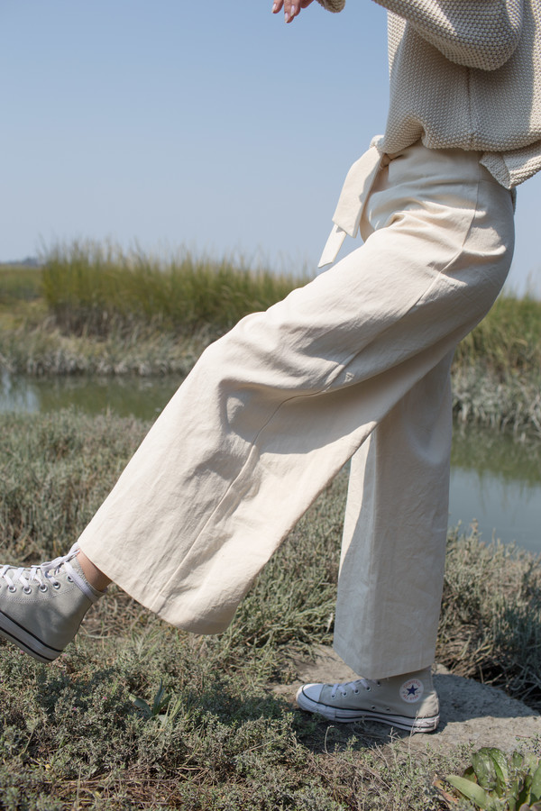 Micaela Greg Knotted Sailor Pant in Cream
