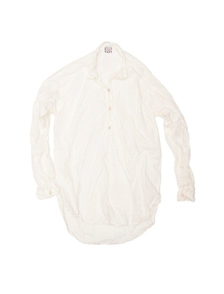 TENDER CO. COTTON LAWN LONG SLEEVE PULLOVER SPLIT TAIL SHIRT
