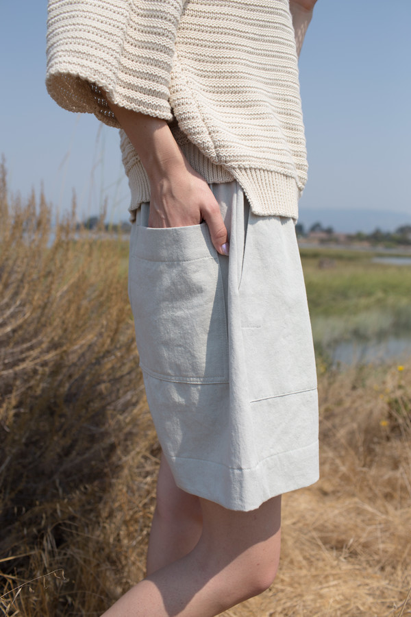 Micaela Greg Roll Rib Sweater in Cream