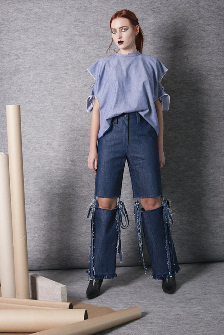 KM By Lange Deep Denim Cut Jeans