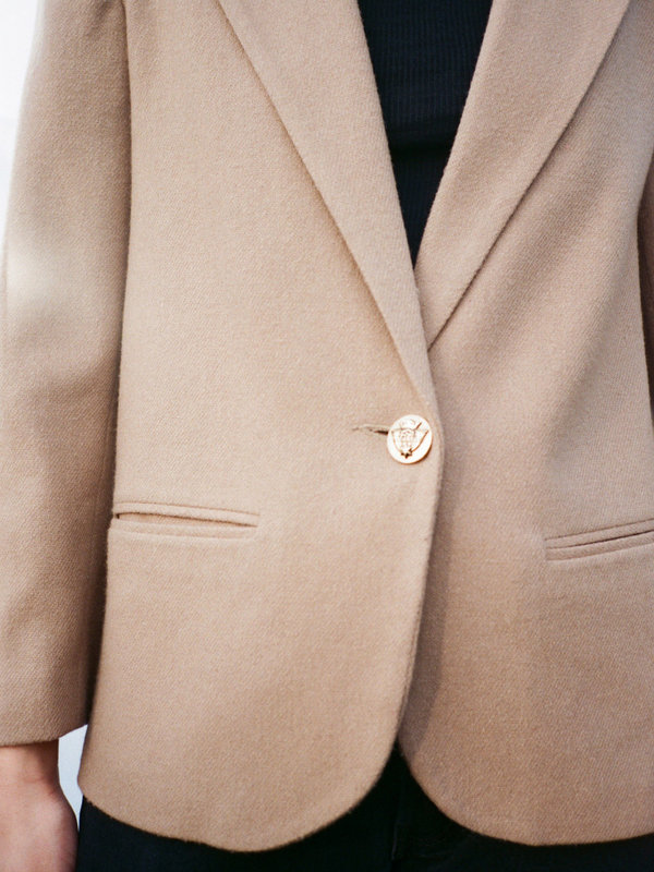 Casia Vintage  Tan Wool Blazer