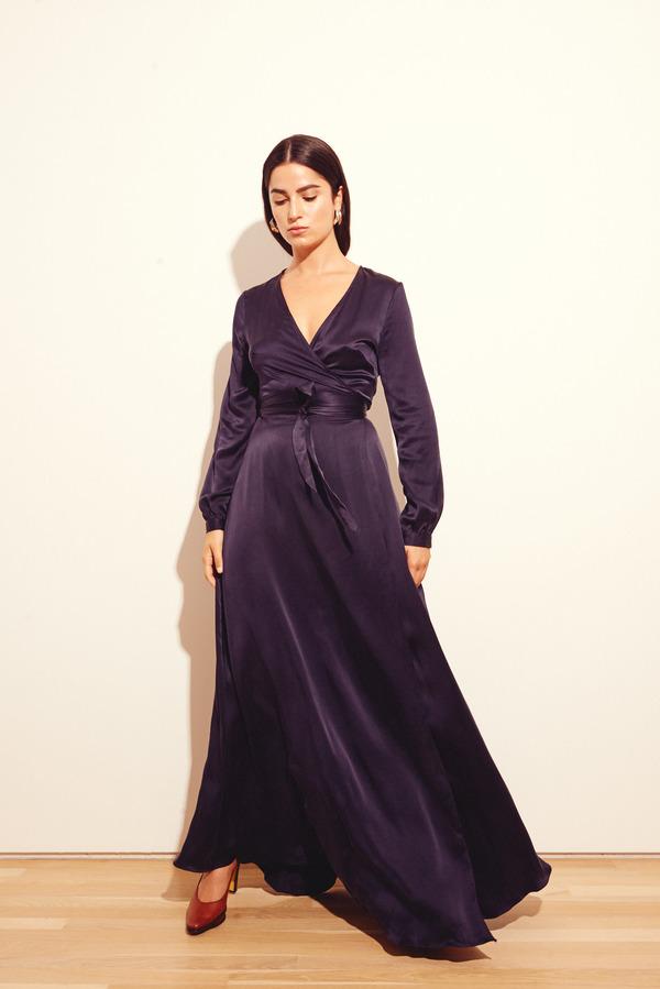 Kamperett Linden Maxi Dress in Navy