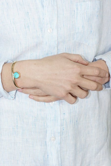 Seaworthy Sonia Cuff Turquoise in Brass