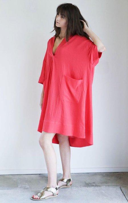 Sunja Link Pullover Dress in Pink Crinkle Cotton
