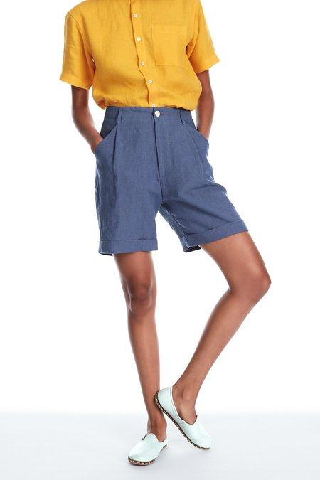 Blluemade Linen Shorts in Cornflower Blue