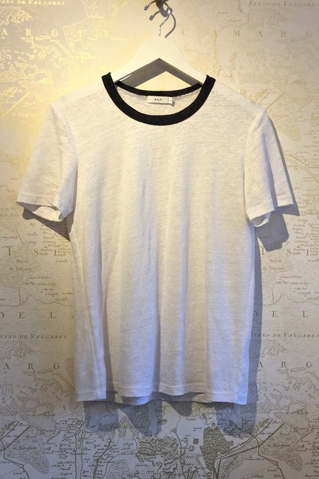 A.L.C. Linen Ford Tee with Navy Collar