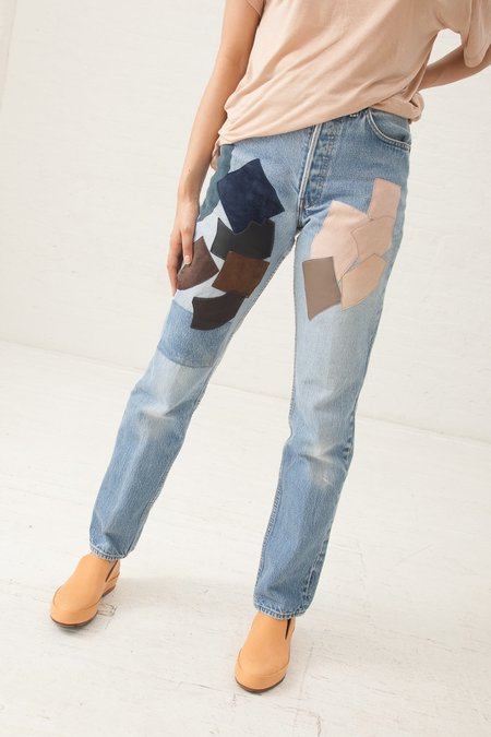B Sides Vintage Leather Patchwork Jeans in Pink