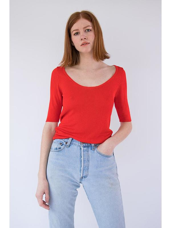 Suzanne Rae Rib Knit Top - Tomato Red