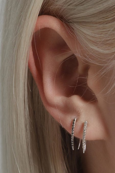 Gabriela Artigas Infinite Tusk Earring in Pave Black Rose Gold