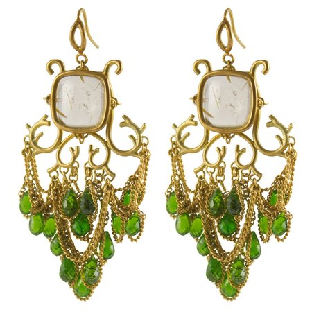 Anthony Nak Earrings - Cushion Chandelier Diopside Briolettes