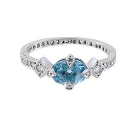 Cathy Waterman Ring, Aqua Antique Prong Round
