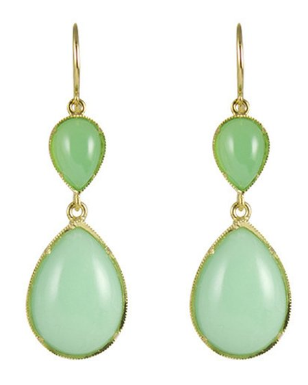 Irene Neuwirth Earrings, 18k Gold and Chrysoprase