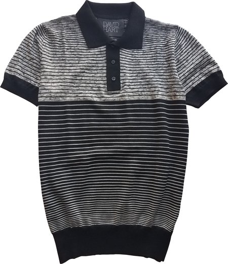 David Hart Black Melange Polo Sweater