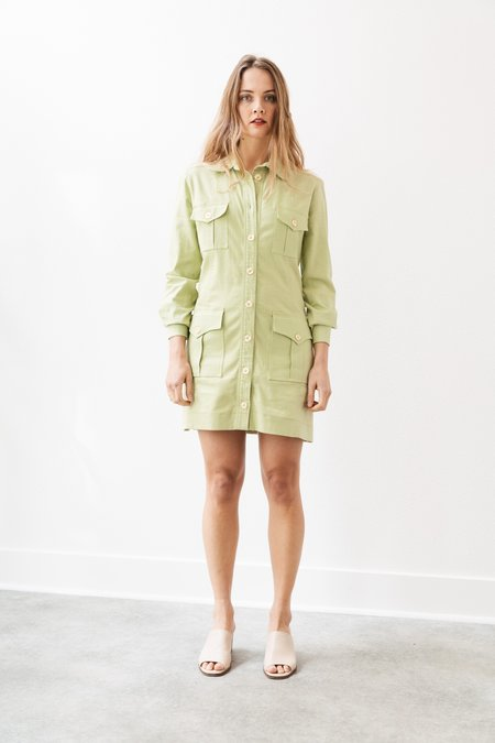 Backtalk PDX Vintage Neon Green Mini Safari Dress