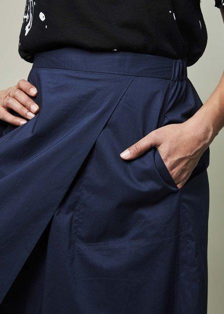 Yoshi Kondo Ballon Asymmetrical Wide Leg Pant - Navy