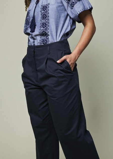 Odeeh Double Pleat High-Waisted Trouser - Dark Navy